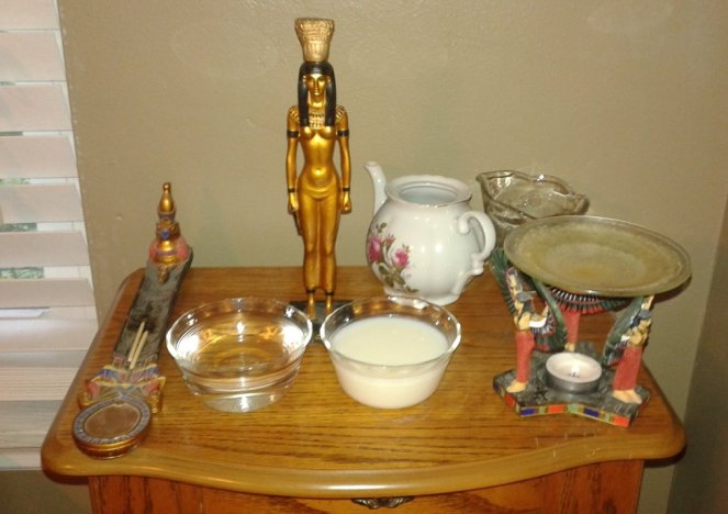My shrine after water and milk has been offered